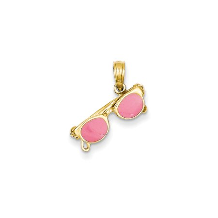 ICE CARATS 14kt Yellow Gold 3 D Pink Enameled Moveable Sunglasses Pendant Charm Necklace Sea Shore Beach Life Fine Jewelry Ideal Gifts For Women Gift Set From Heart