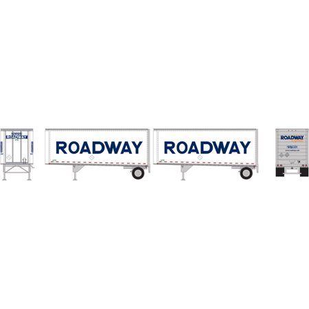 Athearn HO RTR 28' Trailers w Dolly Roadway Smooth (2), ATH29197 ()
