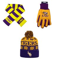 best sneakers 24632 6bfbe Product Image NCAA LSU Tigers Striped Rugby Scarf Grip Work Glove And  Subartic Beanie Hat 3 Pack Bundle