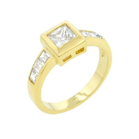 Headlight Bezel Ring (Simple Golden Square Bezel Cubic Zirconia Ring Size 10 )
