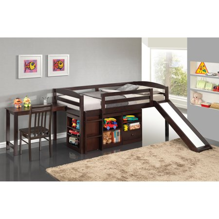 Broyhill Kids Destin Junior Loft Bed Collection with Slide, Espresso, Box 4 of 7