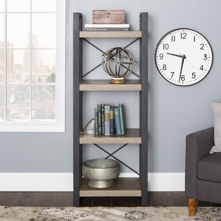 Walker Edison 4-Shelf Industrial Multilevel Audio Media Storage Tower - Driftwood Series 5 Shelf Audio Cabinet