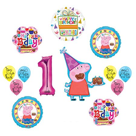 Peppa Pig 1st Birthday Party Balloon supplies and decorations kit (Peppa Birthday)