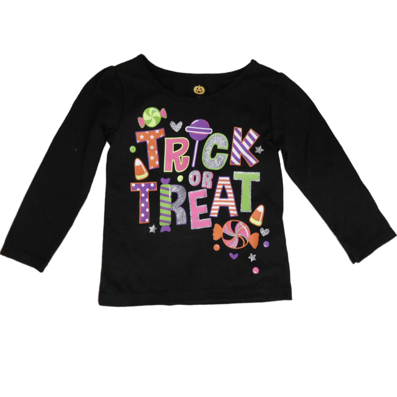 Infant & Toddler Girls Black Halloween Tee Shirt Trick or Treat T-Shirt