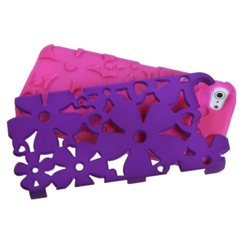 Insten Rubberized Grape/Hot Pink Flowerpower Hybrid Hard Shockproof Phone Case for Apple iPhone SE / 5S / 5