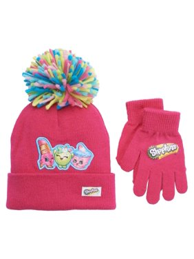 7ca9dc80945 Product Image Girls Pink Shopkins Pom Pom Beanie Hat   Gloves Set