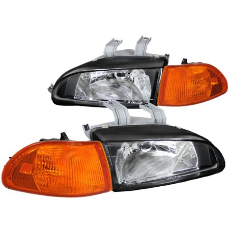 Spec-D Tuning For 1992-1995 Honda Civic 4Dr 4D Black Head Lights + Amber Corner (Left+Right) 1992 1993 1994 1995