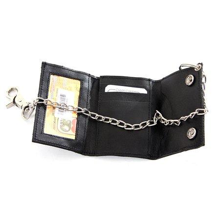 Men's Trifold Snap Lock Leather Biker Wallet Black Wallet 4.25 x 3 inches Push Lock Wallet