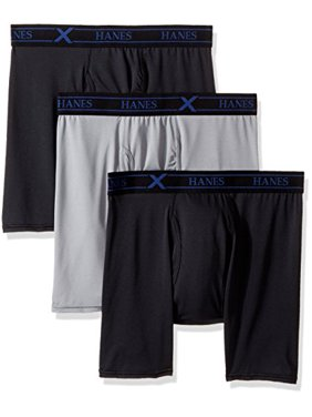 Hanes Ultimate Men's 3-Pack X-Temp Performance Stretch Boxer Briefs, Black/Gray 4XL