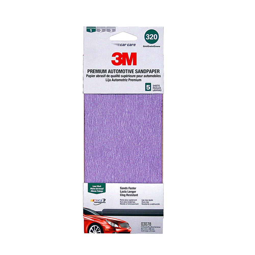 3M Premium Automotive Sandpaper, 320 Grit, 5pk by 3M