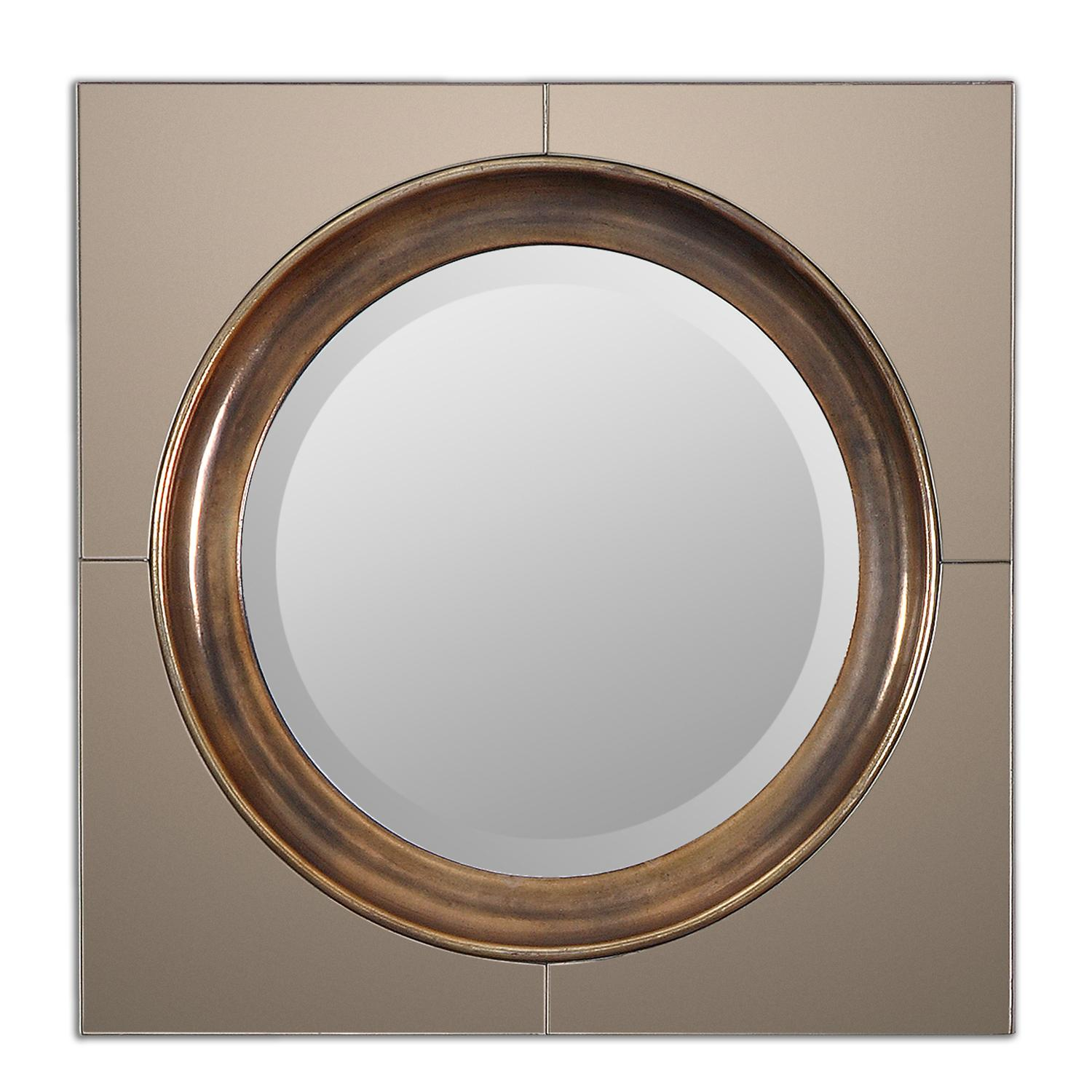 20 Quot Antiqued Gold Square Framed Beveled Round Wall Mirror