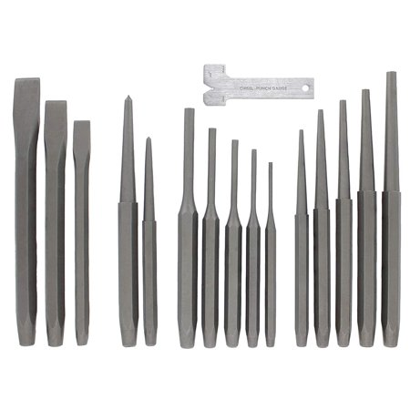 RAM-PRO 16-Piece Punch and Chisel Set   Kit Includes: Steel Pin, Taper, & Center Punches, with Cold Chisels and Chisel-Punch Gauge   Perfect for Metal & Wood Work