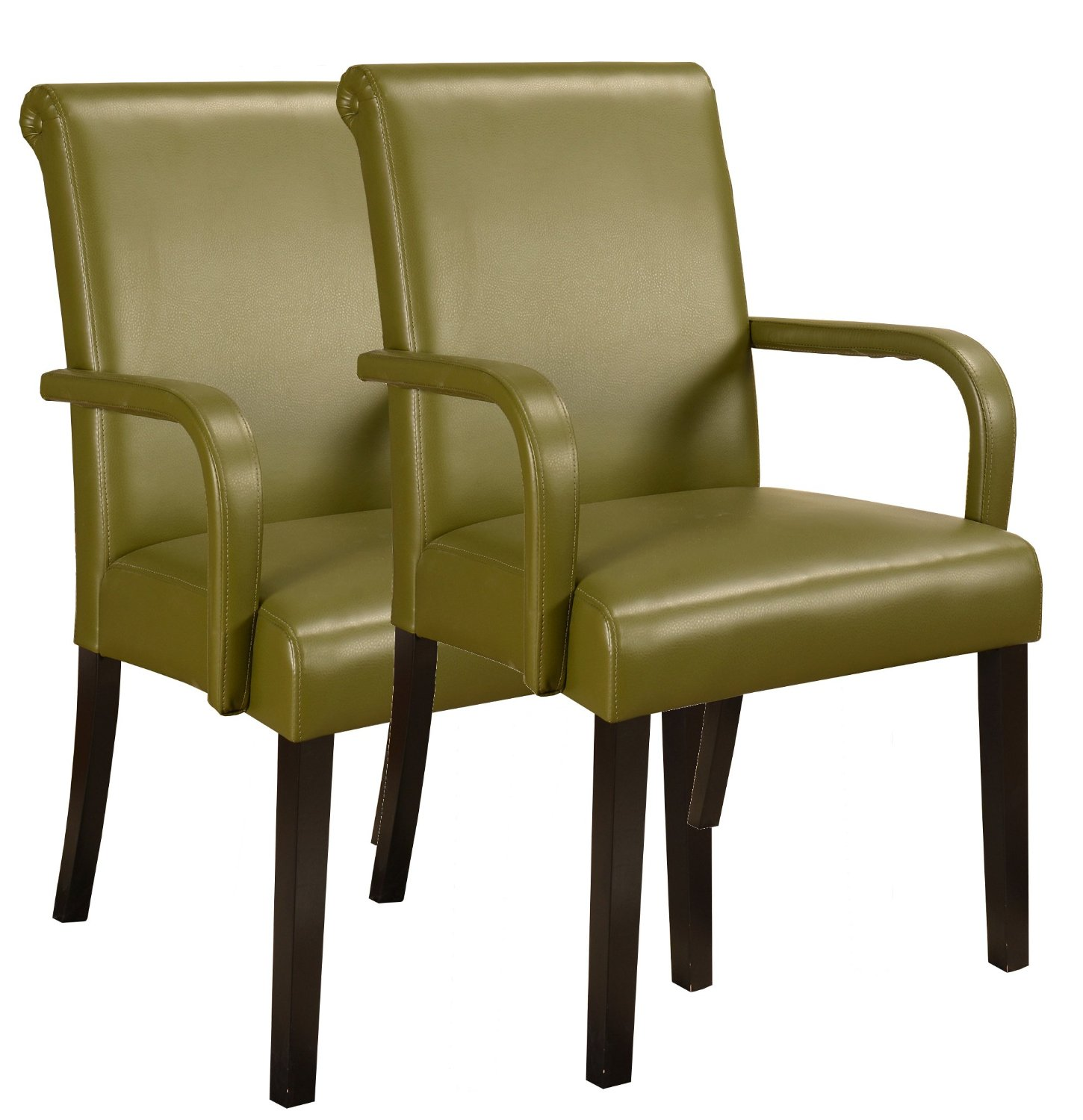 Green Upholstered Faux Leather Parsons Accent Arm Chairs ...