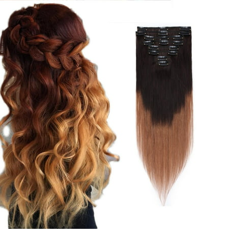 S-noilite Clip in 100% Remy Human Hair Extensions Grade 7A Quality Full Head 8pcs 18clips Short Soft Silky Straight for Women Fashion Dark brown & light