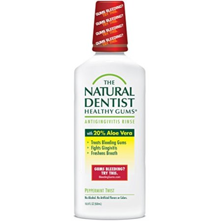 the natural dentist healthy gums antigingivitis mouthwash to prevent and treat bleeding gums and fight the gum disease gingivitis - peppermint twist flavor 16.9 fl oz (500