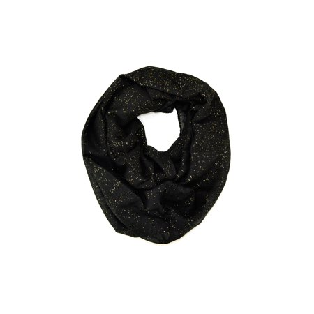 Solid Color Soft Infinity Loop Scarf with Glitter (Black)