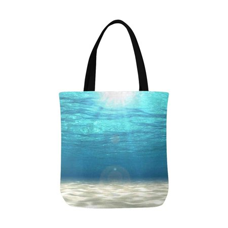 ASHLEIGH Tropical Summer White Sand with Sun Ray Under Sea Water Canvas Tote Bags Reusable Shopping Bags Grocery Bags Washable Bags for Women Men