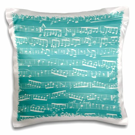 Teal Bed Pillow (3dRose Turquoise Musical notes - stylish sheet music - teal aqua blue piano notation modern musician gifts, Pillow Case, 16 by 16-inch)