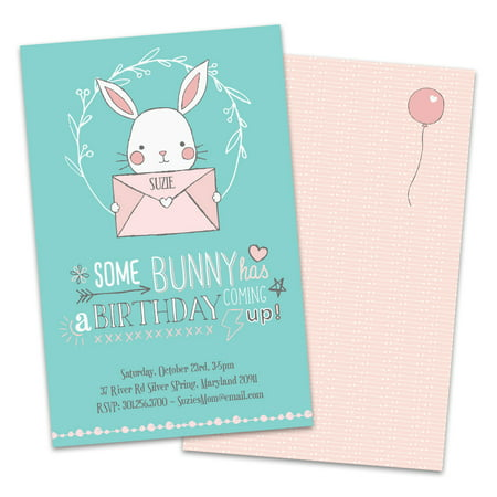 Personalized Cute Bunny Birthday Party Invitations - Cute As A Button Invitations