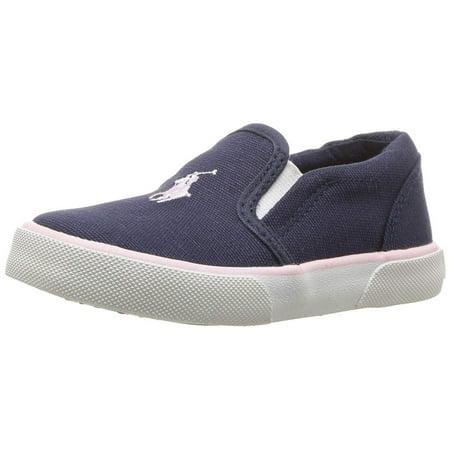Polo Ralph Lauren Kids Girls' Bal Harbour II Sneaker, Navy Canvas Light Pink pop, M025 M US Little Kid (Shoes Girls Ralph Lauren)