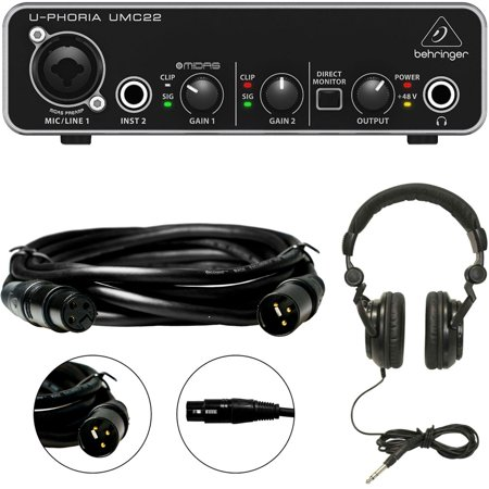 behringer u phoria umc22 2x2 usb audio interface mic preamp with xlr cable and headphones. Black Bedroom Furniture Sets. Home Design Ideas