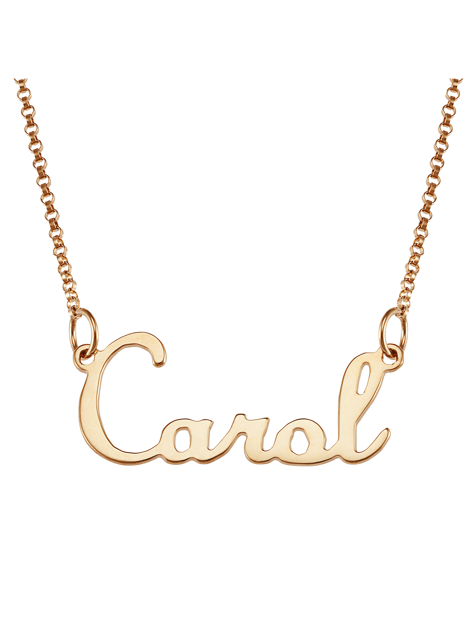 Personalized 14K Gold over Sterling Silver Script Name Necklace 18