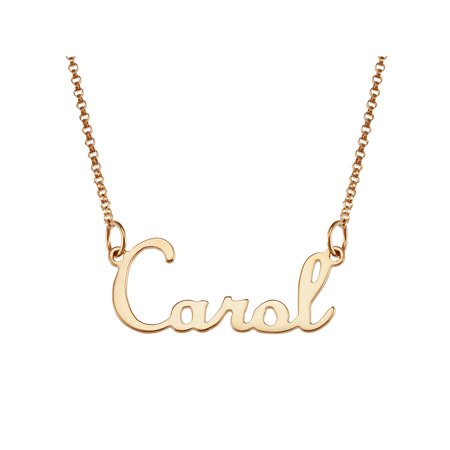 "Personalized Premium 14K Gold over Sterling Silver Script Nameplate Necklace, 18"", 1mm thickness"