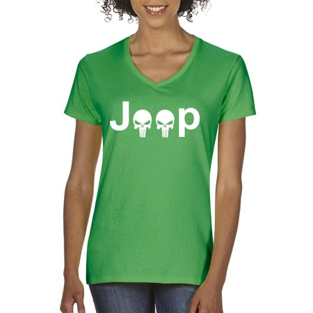 New Way 606 - Women's V-Neck T-Shirt Jeep Punisher Logo Skulls