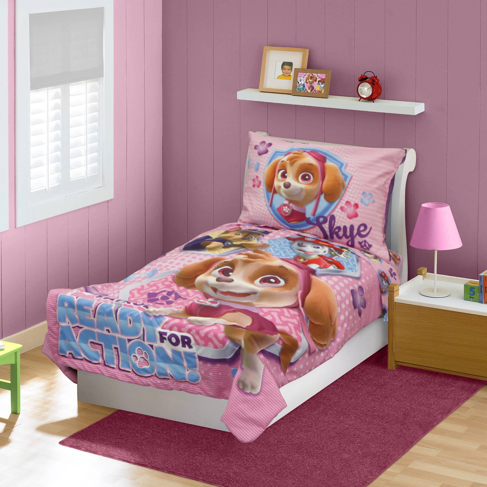 Paw Patrol Skye 4 Piece Toddler Bedding Set Walmart Com