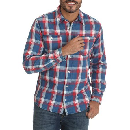 Wrangler Men's premium slim fit plaid shirt (mens slim fit shirt medium)