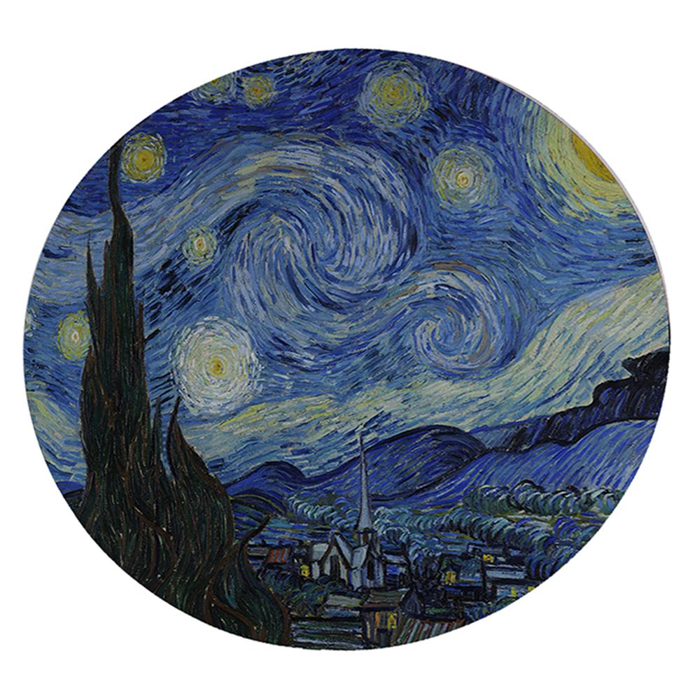 "KuzmarK 12"" Round Glass Cutting Board - Van Gogh Starry Night"