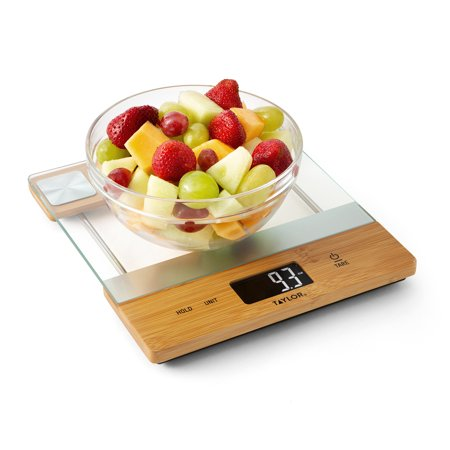 Taylor Bamboo and Glass Digital Kitchen Scale 39099