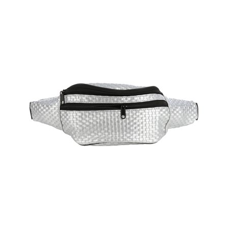 Fanny Pack Silver Top Pocket Basket Weave Faux Leather Bag Accessory