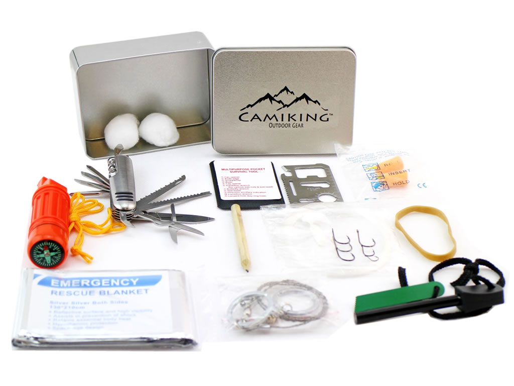 CamiKing 46pcs Emergency Kit & Survival Fishing Gear, Compass, Blanket, Saw by
