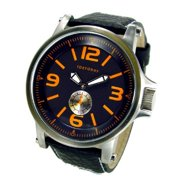 Mens Agent Analog Stainless Watch - Black Leather Strap - Black Dial - T807-BK