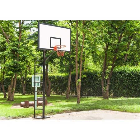 Jungle Basket - ABPHOTO 7x5ft Basketball Court Backdrop Nature Outdoor Playground Basketball Hoop Backdrops for Photography Jungle Forest Trees Green Grassland Spring Photo Background Boys Children Studio Props