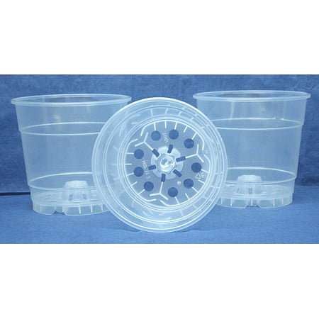 12 Clear Plant (Clear Plastic Teku Pot for Orchids 4 1/2 inch Diameter - Quantity 3 )