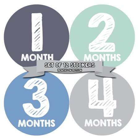 Months In Motion Monthly Baby Milestone Stickers | Newborn Boy Photo Prop Month Sticker (015)](Photo Ideas For Newborn Boy)