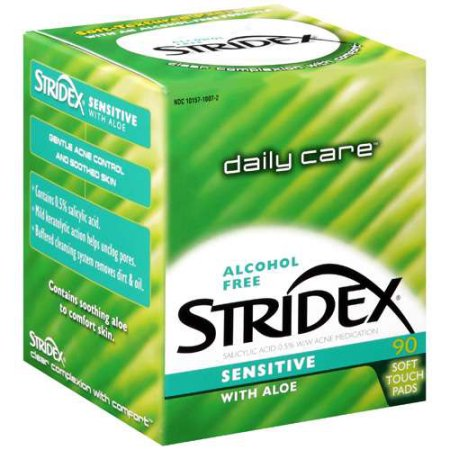 Stridex Sensitive with Aloe, Alcohol Free Salicylic Acid Acne Control Pads, 90 count
