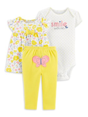 Child of Mine by Carter's Baby Girl Shirt, Bodysuit & Leggings Outfit, 3pc Set