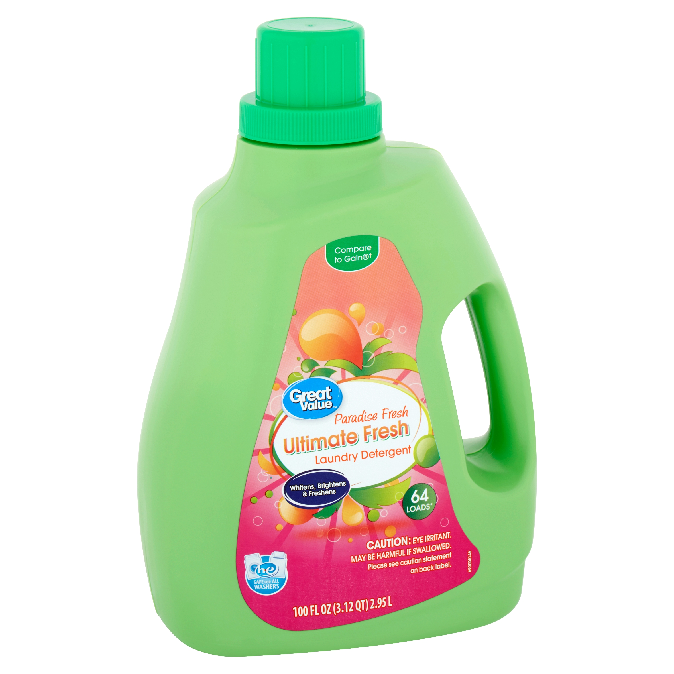 Great Value Ultimate Fresh Paradise Fresh Laundry Detergent, 64 loads, 100 fl oz
