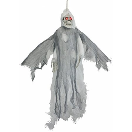 White Lighted Animated Flying Reaper with Wings - Flying Reaper