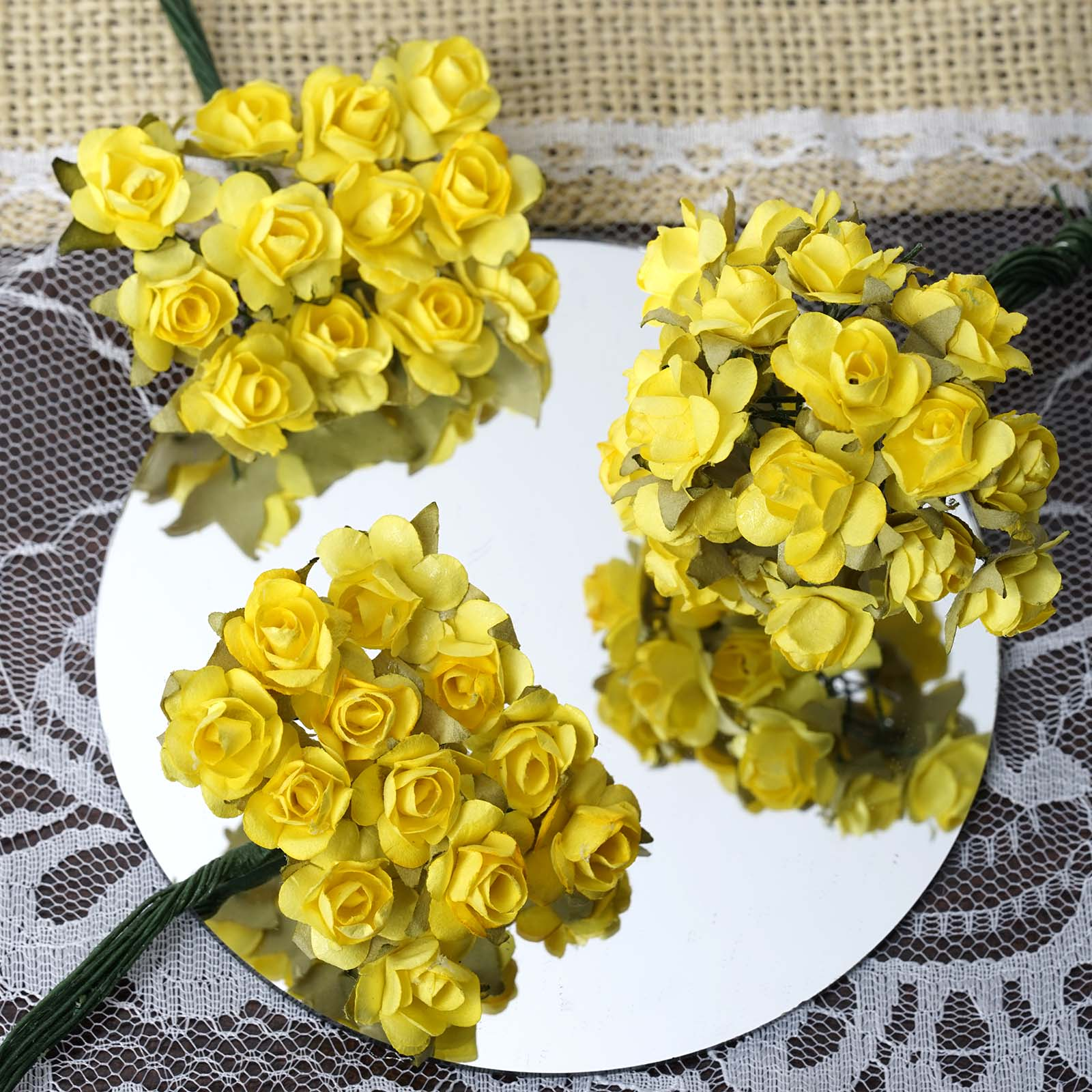 BalsaCircle 144 Craft Paper Roses - Mini Flowers for DIY Wedding Party Favors Decorations Supplies