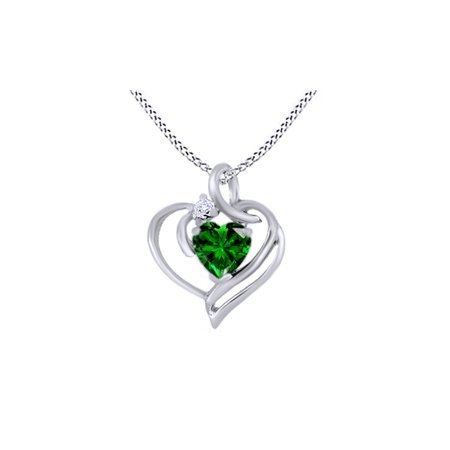Heart Shape Emerald & Round Cut Natural White Diamond Necklace Pendant in 14k White Gold Over Sterling Silver (0.78 cttw)