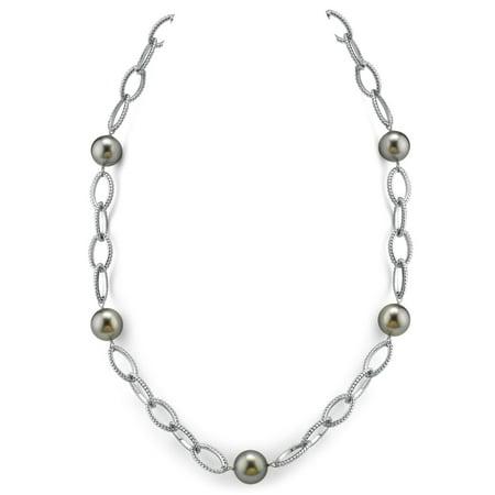 14K Italian White Gold 11-12mm Tahitian South Sea Cultured Pearl & Diamond Designer