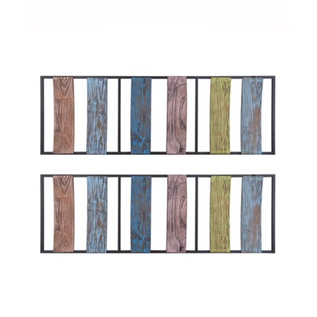 Elements 12 Inch X 32 Inch Set Of 2 Blue Brown Strip Wood Wall Panels