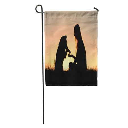 KDAGR Girl is Sitting Outside in The Grass Lovingly Shaking Hands Her German Shepherd Dog Silhouetted Against Garden Flag Decorative Flag House Banner 12x18 inch