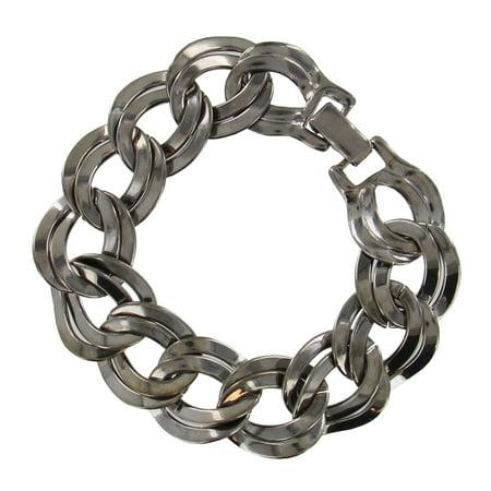 (Dark Silver Tone Oversized Chunky Chain Bracelet Double Link)