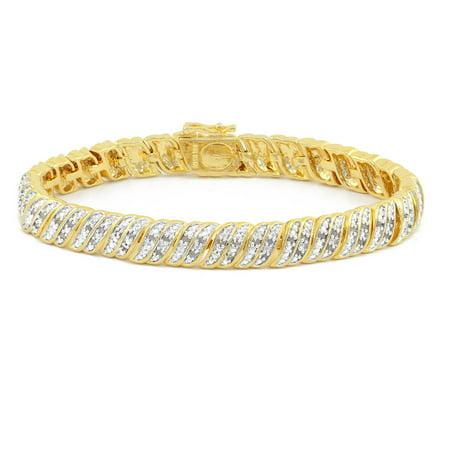 1.0 Carat T.W. Round White Diamond Yellow Gold-Plated Tennis Bracelet 2ct Round Diamond Tennis Bracelet
