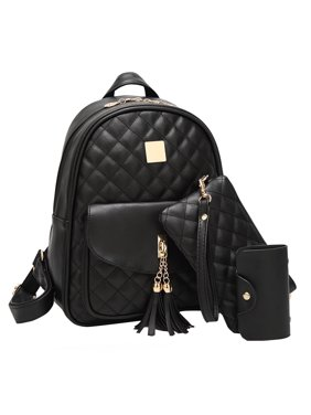 Small Fashionable Backpack for Women Mini Black Quilted Fashion Backpacks Purse